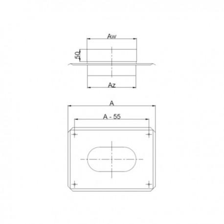 Trójnik owalny żaroodporny 45°