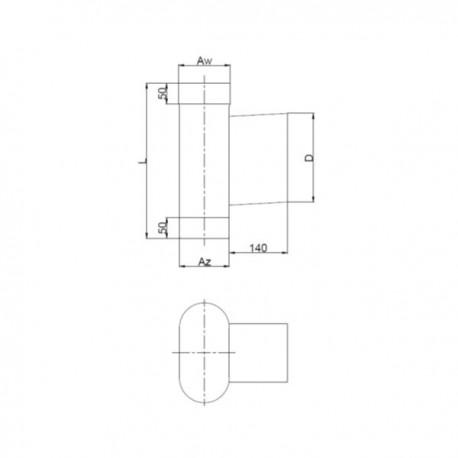 Wyczystka owalna żaroodporna z drzwiczkami 140x140